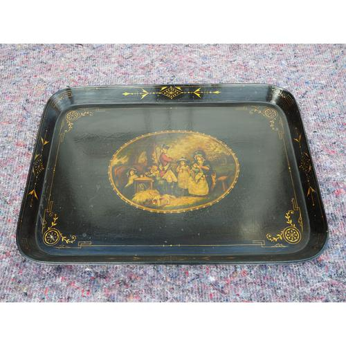 Regency Oblong Lacquered & Painted Tray (1 of 6)