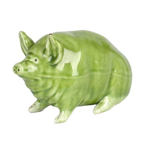 Robert Heron Scottish Wemyss Green Glazed Art Pottery Pig c.1900 (1 of 11)