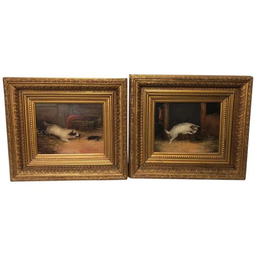 """Pair Victorian 19th Century Sporting Hunting Oil Paintings Terrier Dogs """"Ratting"""" Signed J Langlois (1 of 12)"""