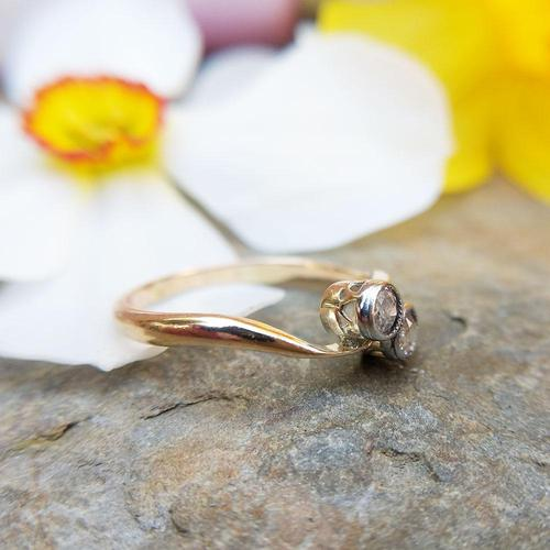 Antique Edwardian 18ct Gold Old Cut Diamond Toi Et Moi Ring (1 of 7)