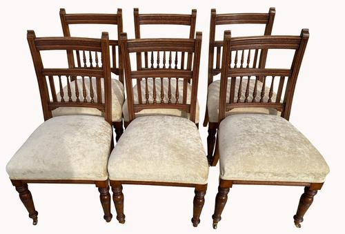 A Set of Six Victorian Walnut Dining Chairs (1 of 3)