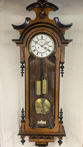 Walnut & Ebonised Key Hole Vienna Wall Clock (1 of 5)