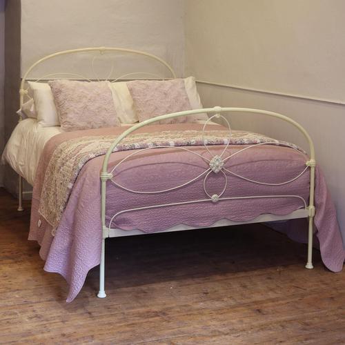 Cream Victorian Cast Iron Bedstead with Hoop Over Design (1 of 10)