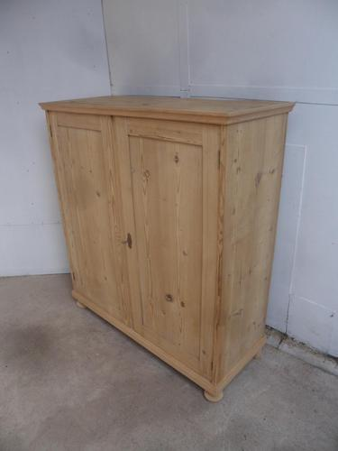 Victorian Tall / Large Antique Pine 2 Door Storage Cupboard to wax / paint (1 of 8)
