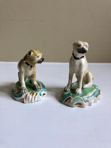Two Duesbury Derby Porcelain Pug Dogs Figurines c.1790 (1 of 16)