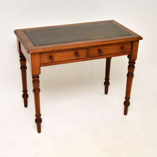 Antique Victorian Walnut Leather Top Writing Table / Desk (1 of 10)