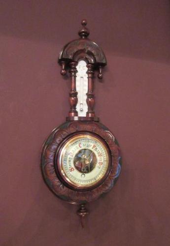 Small Antique Walnut Banjo Barometer (1 of 8)