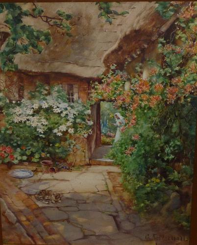 'A quaint corner at Wick' watercolour by George F Nicholls c 1920 (1 of 2)