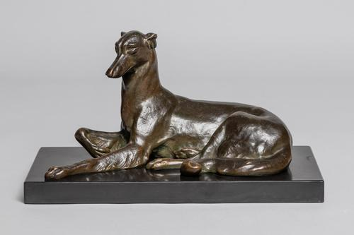French Art Deco Bronze Sculpture of Dog Set on Marble Base (1 of 8)