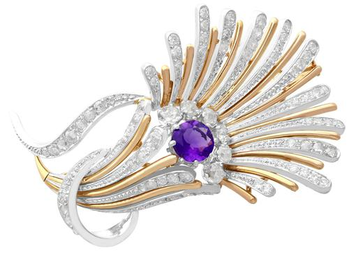 1.01ct Amethyst and 1.69ct Diamond, Platinum and 14ct Yellow Gold Brooch - Art Deco - Vintage Circa 1940 (1 of 9)