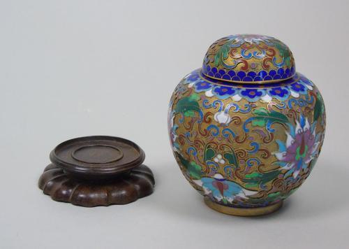 Antique Champleve Cloisonne Lidded Jar on Stand (1 of 7)