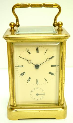 Good Antique French 8-day Carriage Clock Bevelled Case with Bell Alarm Feature (1 of 13)