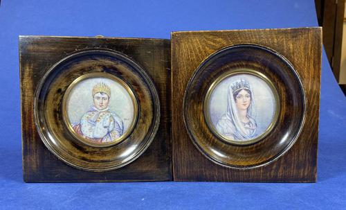 Pair of 1920s Painted Miniatures of Emperor Napoleon & Josephine (1 of 30)
