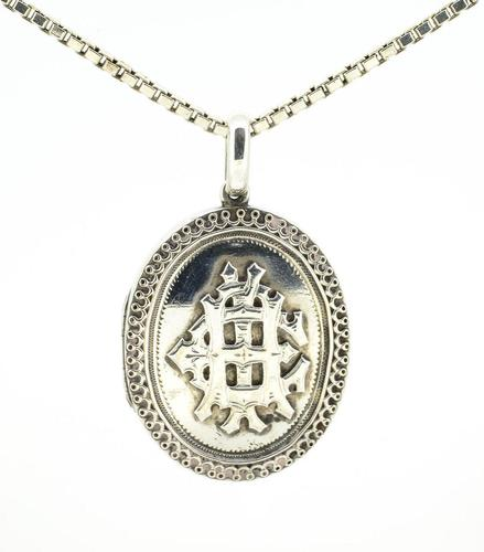 Antique Silver Locket & Chain (1 of 4)