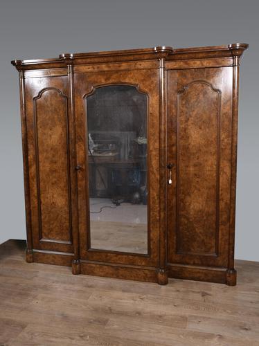 Large Antique Walnut Breakfront Triple Wardrobe (1 of 5)
