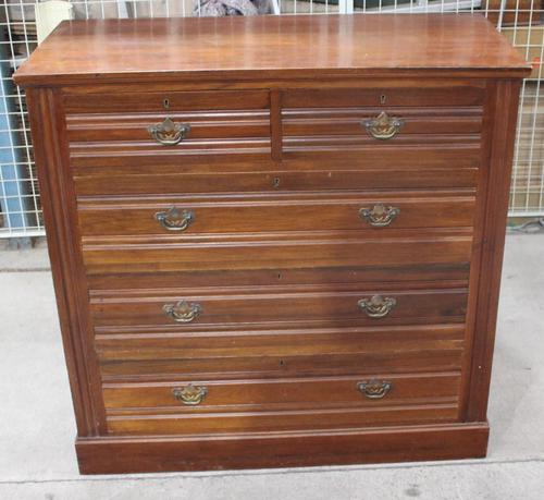 1920s Mahogany Chest of 2 over 3 Drawers with Tramlines (1 of 4)