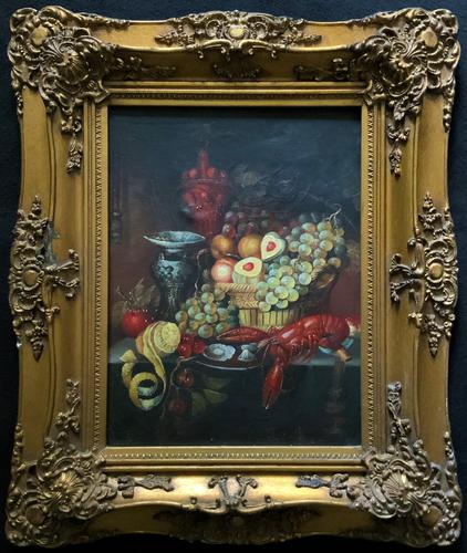 Fine Early 20thc Antique Still Life Oil Painting - Fruit & Shellfish - Minor TLC (1 of 14)