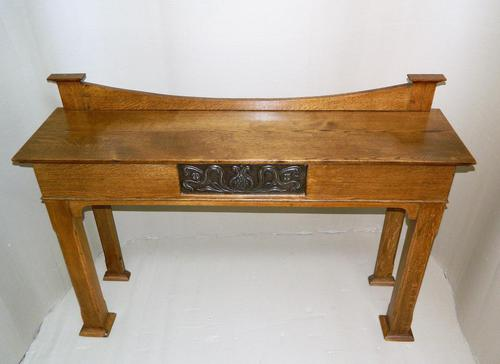 Arts & Crafts Oak Console Table (1 of 7)