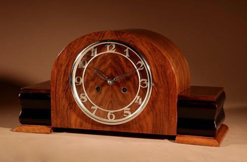 Art Deco Walnut & Ebonised Mantel Clock c.1930 (1 of 7)