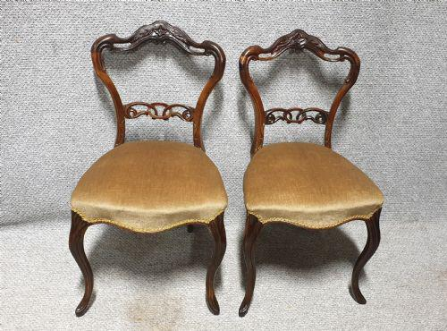 Pair of Victorian Rosewood Hall Chairs (1 of 7)