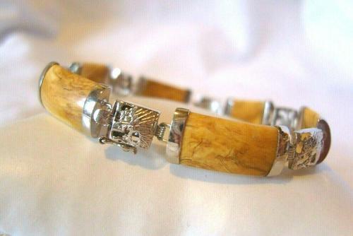 "Vintage Silver Chinese Dragon Bracelet 1970s Meerschaum Stones 7 1/4"" Length (1 of 10)"