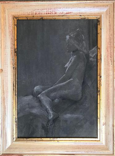 Original pastel 'Girl in a black choker' by Dennis Gilbert NEAC. B.1922. From a studio collection (1 of 2)