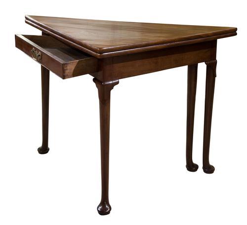 George III Mahogany Triangular Fold Over Top Table (1 of 7)
