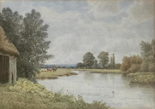 George Stanfield Walters Watercolour 'On the Trent, Hampshire' (1 of 2)