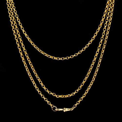 """Antique Victorian Long 18ct Rolled Gold Guard Muff Chain Necklace 54"""" Length (1 of 7)"""