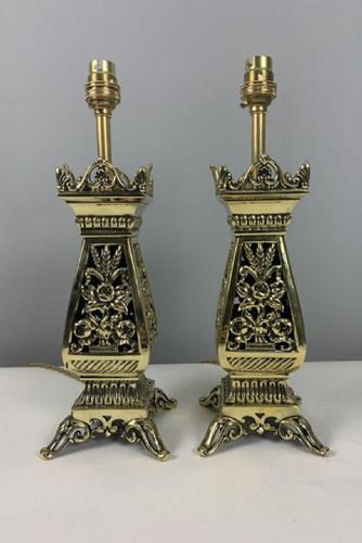 Pair Of Victorian Pierced Brass Table Lamps; Rewired And Pat Tested (1 of 10)