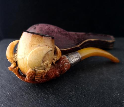 Antique Meerschaum pipe, Eagle claw, Amber (1 of 14)