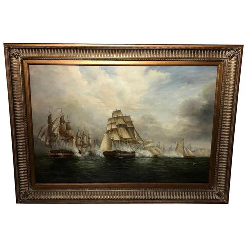 Large Fine Marine Oil Painting Napoleonic French Sea Battle Trafalgar Ships Off Coast (1 of 13)