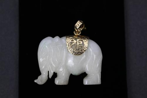Chinese White Jade Gold Mounted Elephant Pendant (1 of 2)