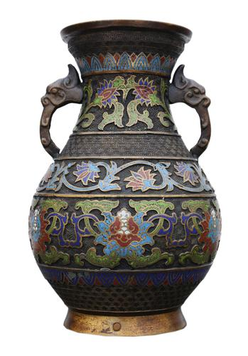 Late 19th Century quality Chinese bronze cloisonne vase (1 of 7)