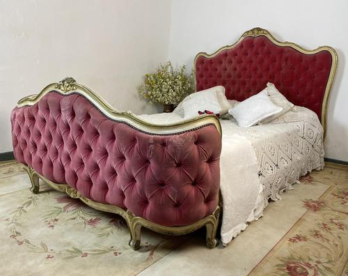 Antique French Demi Corbeille Chesterfield Style Double Bed Frame (1 of 13)