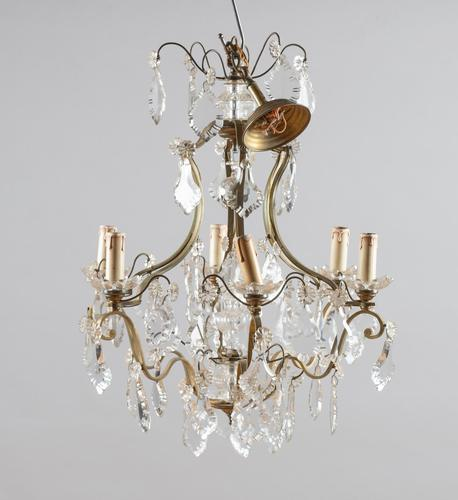 Large French Glass & Brass Chandelier (1 of 6)