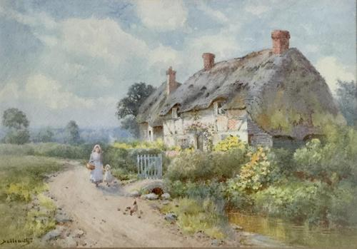 Thomas Noel Smith Watercolour - Mother & Child in Front of Thatched Cottage (1 of 2)