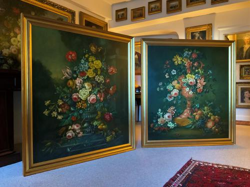 Dutch 18thc Manner RARE Huge Pair Vintage Fruit Floral Still Life Oil Paintings (1 of 23)