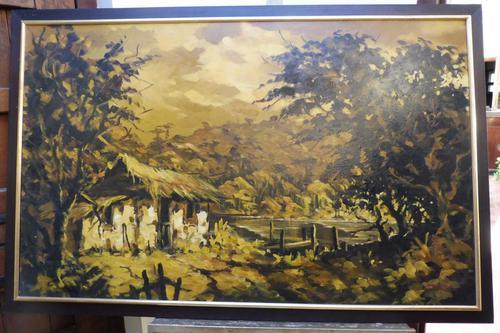 Large oil on canvas The Plantation Brazilian artist Chediac (1 of 10)