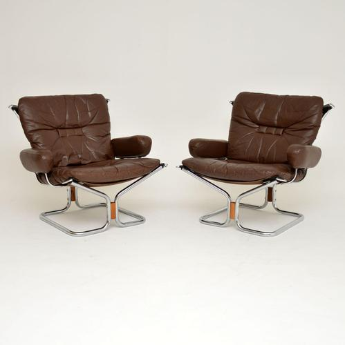 1960's Pair of Leather & Chrome Armchairs by Ingmar Relling (1 of 12)