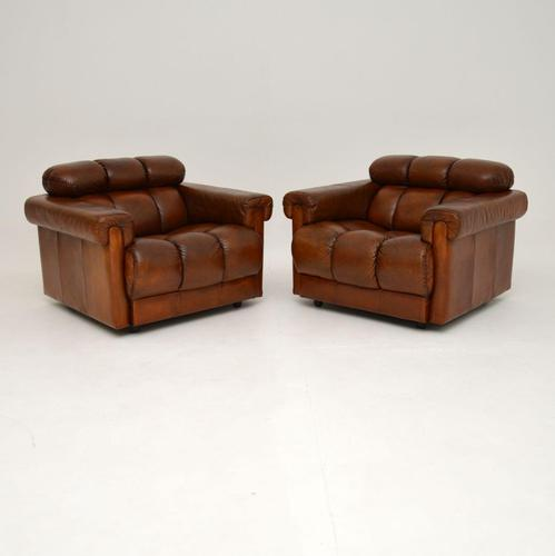 Pair of Vintage Tufted Leather Club Armchairs (1 of 6)