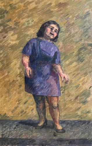 Original oil on canvas (unstretched) 'Valerie B singing' by Ann Spalding 1911-2013. Signed and inscribed Valerie Beanland (???). c.1950 (1 of 3)
