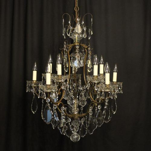 French Gilded Birdcage 11 Light Crystal Antique Chandelier (1 of 10)