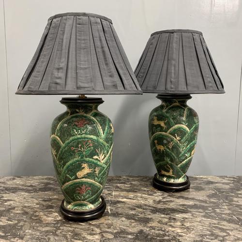 Pair of Bulbous Oriental Ceramic Lamps (1 of 7)