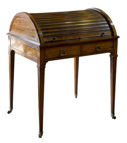 Satinwood Tambour Topped Desk c.1890 (1 of 10)