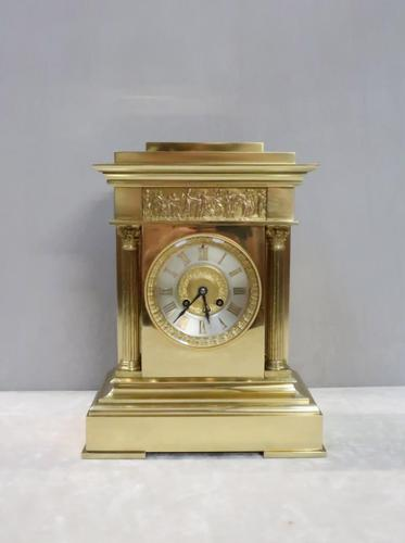 French Belle Epoque Brass Mantel Clock, 1890s (1 of 8)