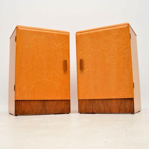 1930's Pair of Art Deco Maple & Walnut Bedside Cabinets (1 of 9)