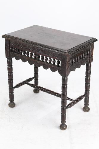 Small Antique Victorian Gothic Revival Oak Hall Table (1 of 13)