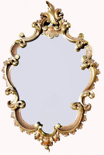 A Good Quality Carved Wood Cartouche Shaped Mirror (1 of 4)