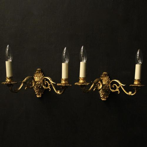 French Pair of Brass Wall Sconces c.1930 (1 of 10)